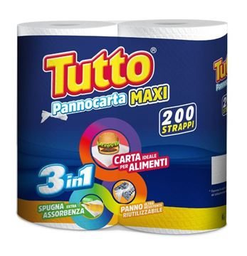 Picture of TUTTO CASA KITCHEN PAPER  X 2 MAXI ROLLS 200 TEARS