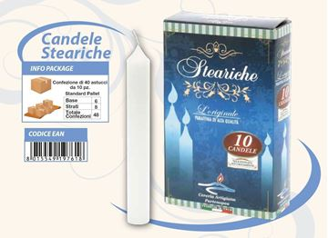 Picture of CANDELE STEARICHE BIANCHE X 10